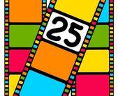 Prázdný film barevný pruh s 25 shot — Stock vektor
