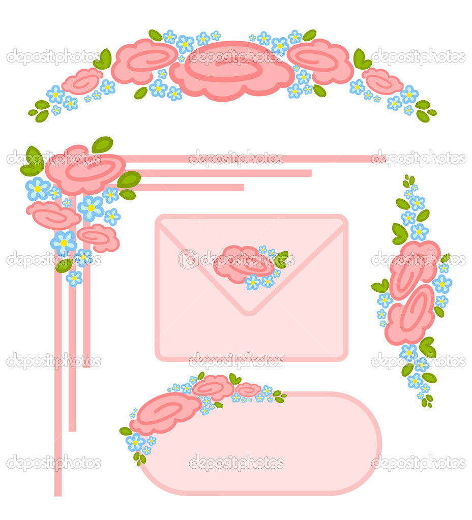 Vector set of valentines day postage stamps  Stock Vector #7391246
