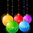 Christmas balls on a black background — Stock Vector