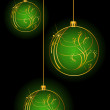 Christmas balls on a black background — Stock Vector #7468646