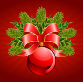 Christmas ball with bow on a red background — Stock Vector