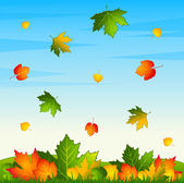 Autumnal seamless background with leaves. Vector. — Stock Vector