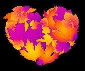 Srdce s podzimní listí — Stock vektor