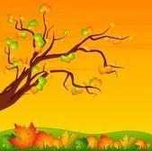 Pozadí s podzimní strom s listy — Stock vektor