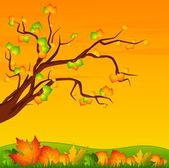Background with autumnal tree with leaves — Stock Vector