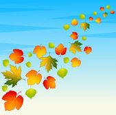 Bakgrund med höstens löv. — Stockvektor