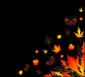 与秋季树叶背景. — 图库矢量图片
