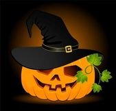 The carved face of pumpkin glowing on Halloween is in the black hat — Stock Vector
