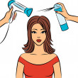Womwith coiffure in beauty salon. Vector — Stock Photo #7901205
