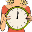 Beautiful girl with clock. Vector — Stock Photo