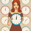 Beautiful girl with clock. Vector — Stock Photo #7901296