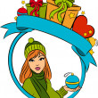 Vector beautiful girl with Christmas gift — Stock Photo