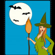 Royalty-Free Stock Photo: Girl witch with broom in Halloween style. Vector illustration