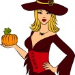 Girl witch with pumpkin in Halloween style. — Stock Photo
