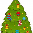 Cartoon Christmas fir-tree. Vector illustration - Foto de Stock