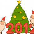 Cartoon funny sheep and numbers 2012 year. Vector Christmas illustration — Stock Photo