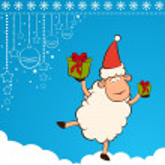 Cartoon funny Santa Claus sheep with gifts. — Stock Photo #7902274