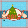 Cartoon funny sheep with fir-tree. Vector Christmas illustration — Stock Photo