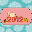 Cartoon funny sheep and numbers 2012 year. — Stock Photo