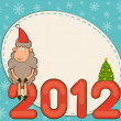 Royalty-Free Stock Photo: Cartoon funny sheep and numbers 2012 year. Vector Christmas illustration