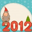 Cartoon funny sheep and numbers 2012 year. Vector Christmas illustration - Photo