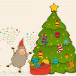 Cartoon funny Santa Claus sheep with fir-tree.  — Zdjęcie stockowe