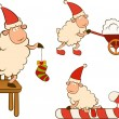 Christmas funny sheep. Vector set — Stock Photo