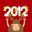 Christmas funny deer. Vector — 图库照片 #7902464