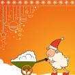 Christmas funny sheep with snow. Vector — Stock Photo