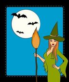 Girl witch with broom in Halloween style. Vector illustration — Stock Photo