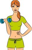 Vector beautiful fitness woman with free weights in gym — Stock Photo