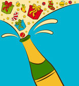 Vector champagne bottles with gifts — Stock Photo