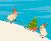 Cartoon funny sheep heaves up sledges with fir-tree — Stock Photo