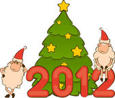 Cartoon funny sheep and numbers 2012 year. Vector Christmas illustration — Foto de Stock