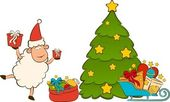 Cartoon funny sheep and sledges, fir-tree and gifts. Vector Christmas illus — Stock Photo