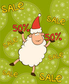 Cartoon funny sheep with sale. Vector Christmas illustration — Stock Photo