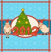 Cartoon funny sheep with fir-tree. Vector Christmas illustration — Stock Photo