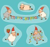 Cartoon funny Santa Claus sheep. Vector Christmas set — Stock Photo