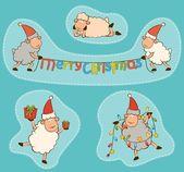 Cartoon funny Santa Claus sheep. Vector Christmas set — Stock Photo