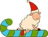 Christmas funny sheep with candy. Vector — Stock Photo