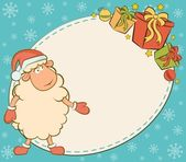 Cartoon funny sheep with gifts. Vector Christmas illustration — Stock Photo