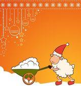 Christmas funny sheep with snow. Vector — Stock Photo