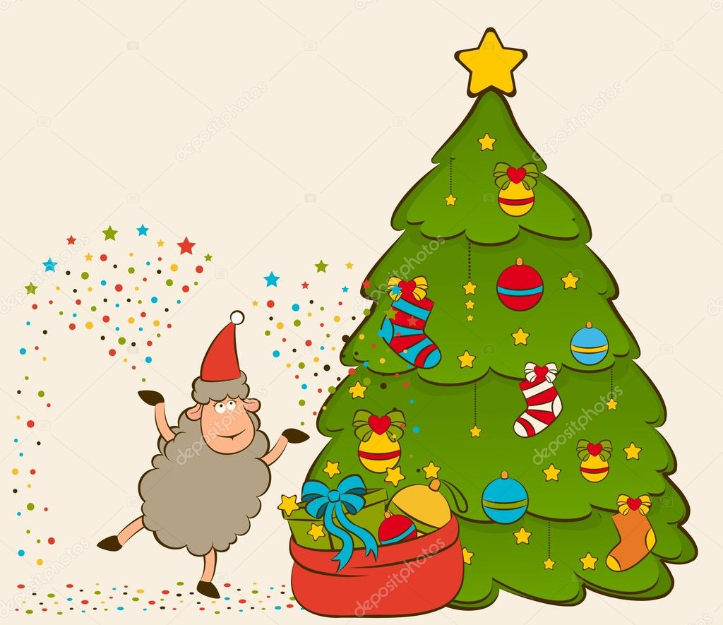 Cartoon funny Santa Claus sheep with fir-tree. Vector Christmas illustration — Stock Photo #7902416