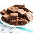 Plate with cocoa homemade brownies, isolated — Stock Photo