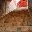 Humayun`s Tomb tunnel arches with stairway - Stock Photo