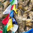Buddhist prayer stone and praying flags — Stock Photo