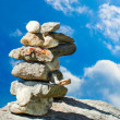 Stock Photo: Meditation zen stones over blue sky