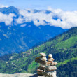 Meditation zen stones on mountains — Stock Photo
