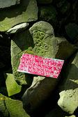 Buddhist prayer stones with mantra — Stock Photo