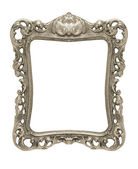 Ornate pewter picture frame silhouetted against white — Stock Photo